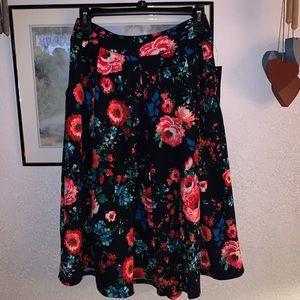 Agnes & Dora Vintage Pleated Midi Skirt w/pockets